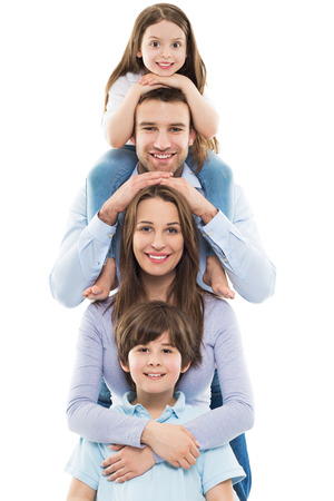 Happy family with two kids Stockfoto