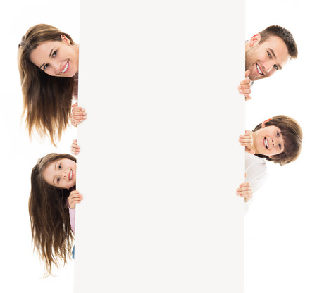 Family with banner Stock Photo
