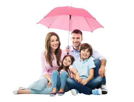 famille: Famille avec le parapluie