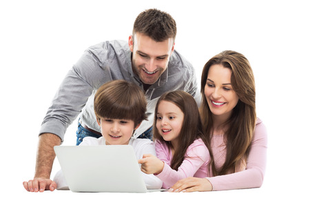 together: Family using laptop together