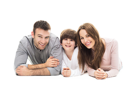 white background: Family with son