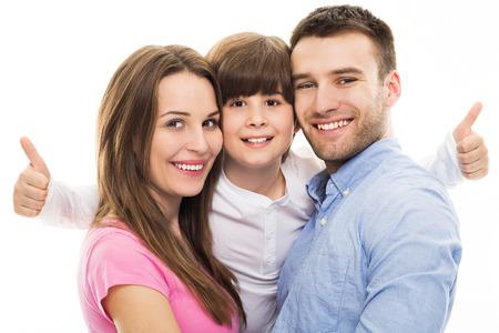marido y mujer: Familia que muestran los pulgares para arriba