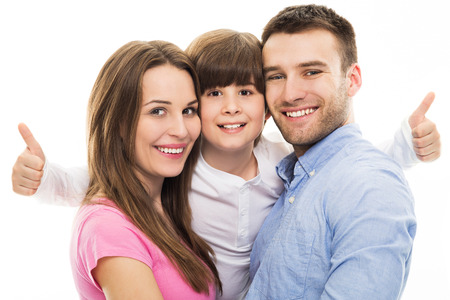 family with one child: Family showing thumbs up Stock Photo