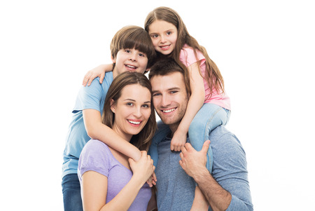 Young family with two kids Stockfoto