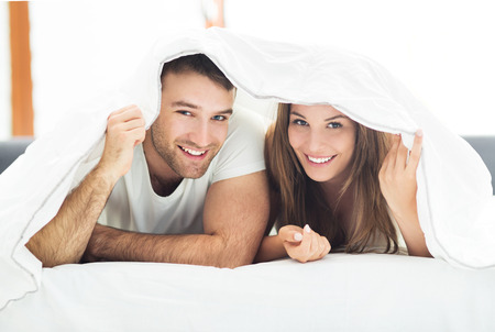 couple bed: Young couple in bed