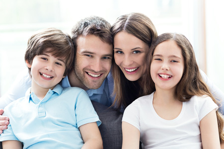 happy kids: Happy family at home Stock Photo