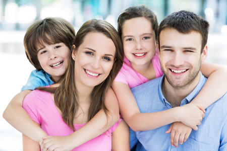 the smile: Young family smiling Stock Photo