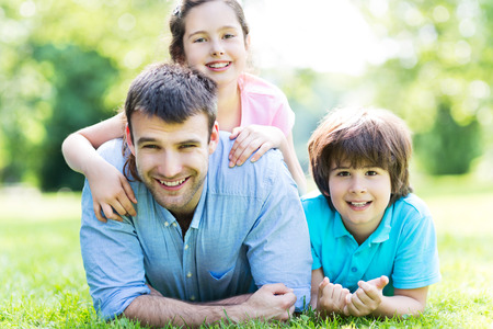fun day: Father with two children Stock Photo