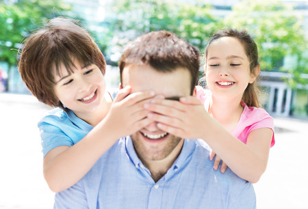 2 3: Father with two children Stock Photo