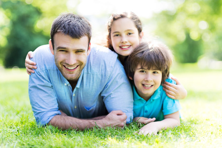 Father with two children Banco de Imagens
