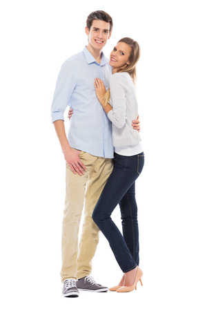 casual woman: Young couple standing Stock Photo