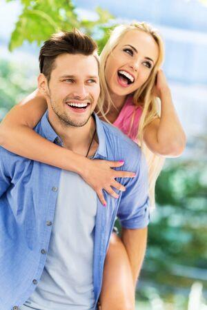 enjoying life: happy young couple Stock Photo
