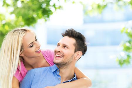 couple having fun: happy young couple Stock Photo