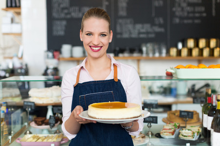 food industry: Woman working at cafe