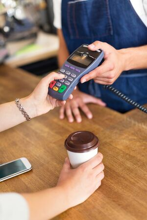 secure shopping: Paying for coffee