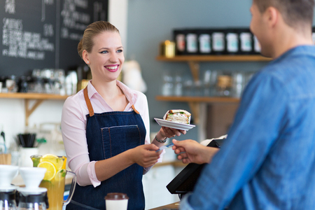 service card: Waitress serving customer at the caf