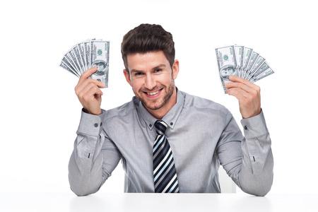 bills: man holding money
