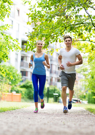 spring training: Couple jogging in the park