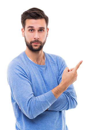 dedo apuntando: Hombre que señala el dedo Foto de archivo
