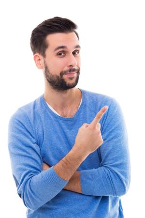 homme doigt pointé Banque d'images