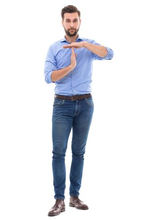 out time: Man showing time out gesture