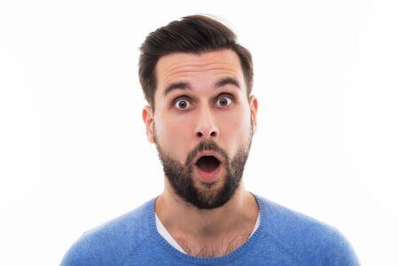geschokt jonge man Stockfoto