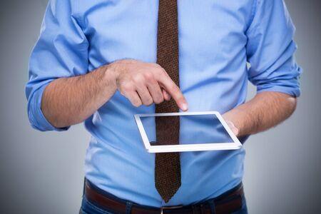 solitude: Man with digital tablet