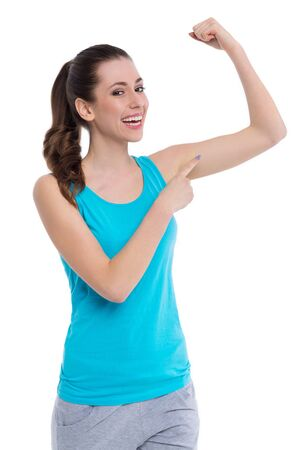 woman muscle: Woman showing muscle Stock Photo