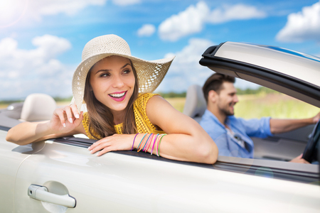 getting away from it all: Couple enjoying a road trip together