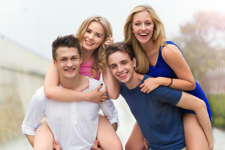 people laughing: Group of happy smiling friends Stock Photo