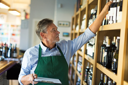 Wine Shop Owner Stockfoto
