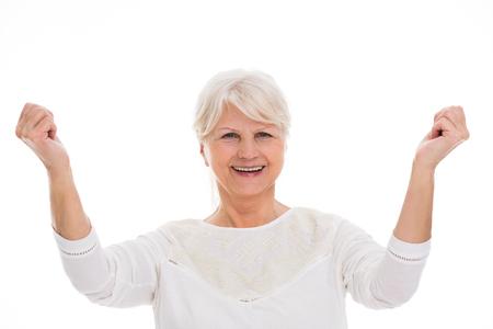 aging: Senior woman gesturing