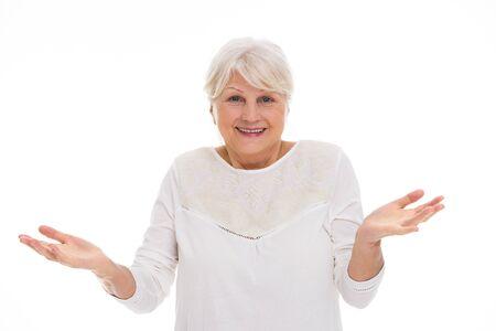 disbelief: Senior woman gesturing