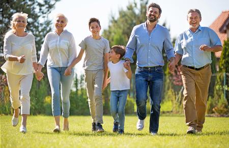 kin: Family outdoors Stock Photo