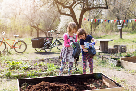 Two little girls gardening in a urban community garden