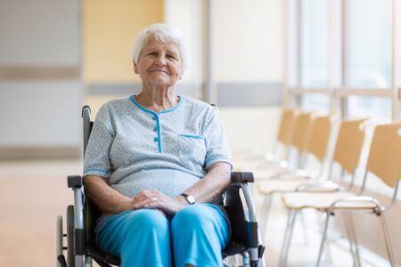 Senior woman sitting in her wheelchair