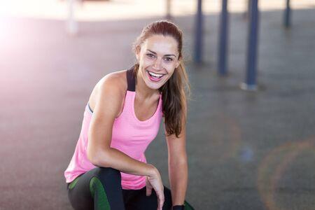 Female runner in a urban city area