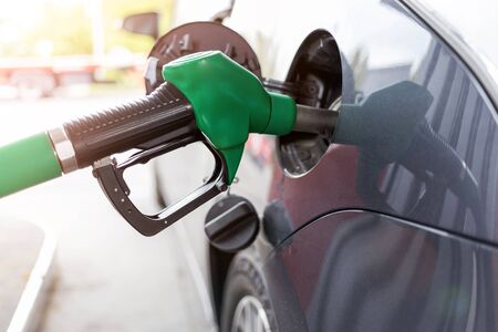 Close up of car during refuel Stockfoto