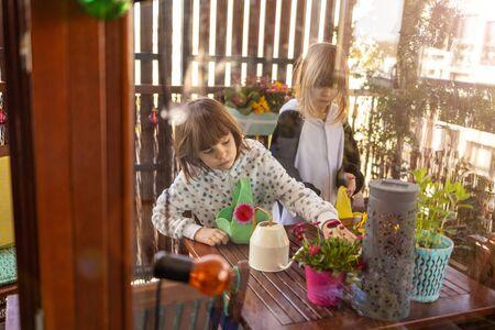 Easter Egg hunt on a balcony