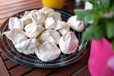 Freshly baked homemade meringues