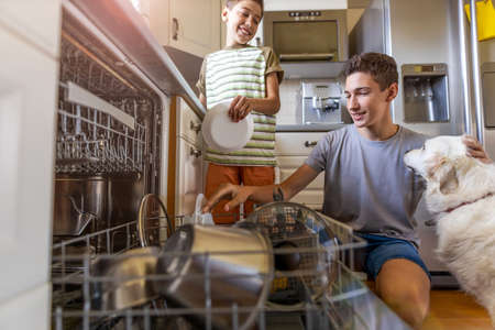 Two boys loading the dishwasher together at home