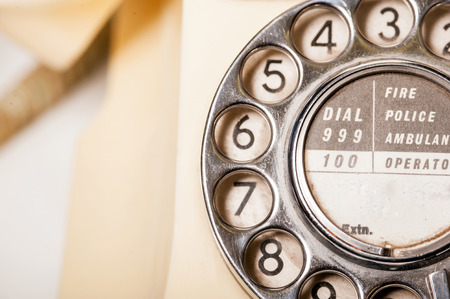 Fifties antique British GPO 332L ivory color bakelite telephone - macro shot of dial detail Stock Photo - 23789028