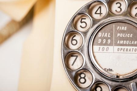 bakelite: Fifties antique British GPO 332L ivory color bakelite telephone - macro shot of dial detail