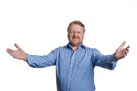 Mddle aged bearded guy welcomes with arms wide photo