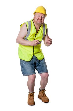 agachado: trabajador de la construcción agachándose