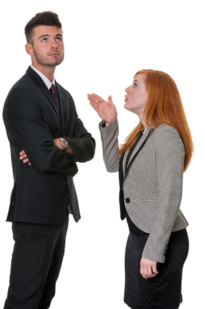 told: Man told off by woman Stock Photo