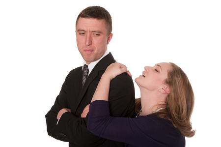 pleading: girl pleading with boy Stock Photo