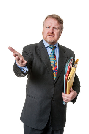 cynical: Concerned man in suit  with file folders
