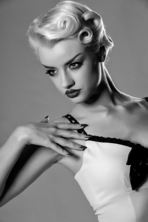 Hollywood style monochrome portrait of stunning blonde photo
