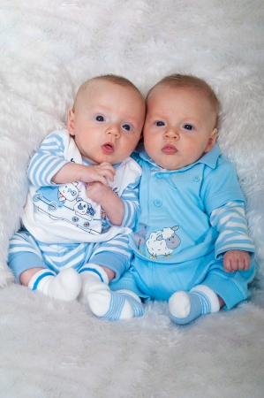 Cute twin boys on white blanket photo